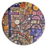 Diseño cruzado al sudoeste del mosaico colorido de platos para fiestas