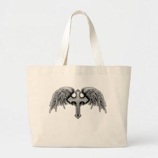 Diseño cruzado con alas del ángel de guarda bolsa tela grande