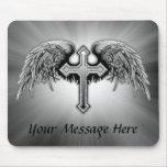Diseño cruzado con alas del ángel de guarda alfombrilla de raton