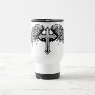 Diseño cruzado con alas del ángel de guarda taza térmica