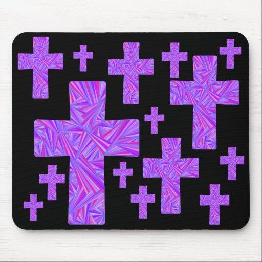 Diseño cruzado púrpura MousePad del collage del ar Alfombrilla De Raton