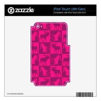 Diseño cuadrado de los alces rosados rústicos calcomanía para iPod touch 4G