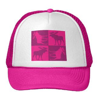 Diseño cuadrado de los alces rosados rústicos gorras