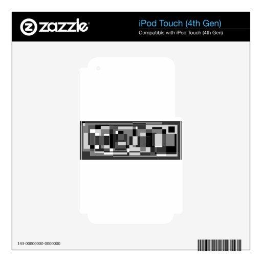 Diseño cuadrado negro, blanco y gris skins para iPod touch 4G