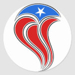 Diseño Curvy de la bandera de Puerto Rico Etiquetas Redondas