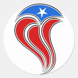Diseño Curvy de la bandera de Puerto Rico Pegatina Redonda