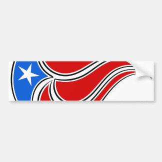 Diseño Curvy de la bandera de Puerto Rico Pegatina Para Auto