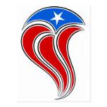 Diseño Curvy de la bandera de Puerto Rico Tarjetas Postales