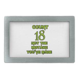 Diseño de 18 cumpleaños hebillas cinturón rectangulares