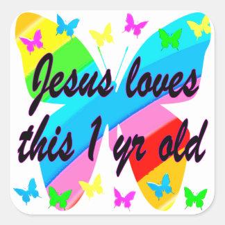 DISEÑO de 1 año CRISTIANO del CUMPLEAÑOS de la Pegatina Cuadrada