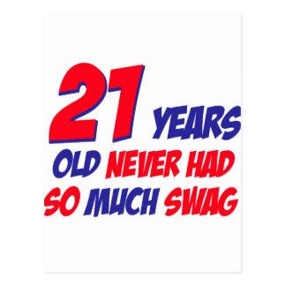 diseño de 21 cumpleaños postal