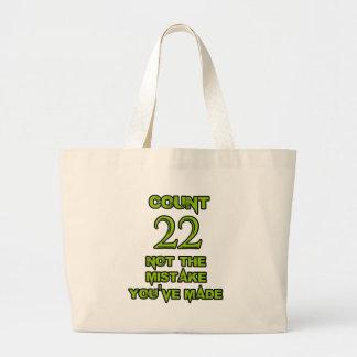 diseño de 22 cumpleaños bolsa tela grande