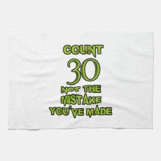 diseño de 30 cumpleaños toalla de cocina