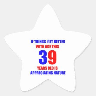 Diseño de 39 cumpleaños pegatina en forma de estrella