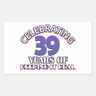diseño de 39 cumpleaños pegatina rectangular