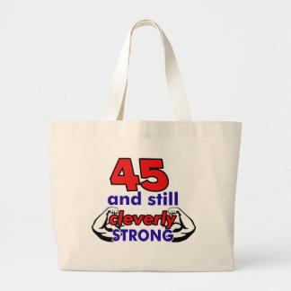 Diseño de 45 cumpleaños bolsa tela grande
