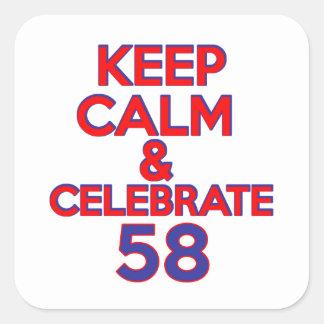 diseño de 58 cumpleaños pegatina cuadrada