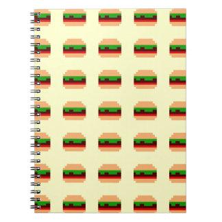diseño de 8 bits del arte del pixel de la hamburgu libro de apuntes