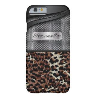 Diseño de acero negro elegante del metal y del funda barely there iPhone 6