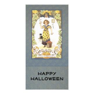 Diseño de antaño de Halloween Tarjeta Personal Con Foto