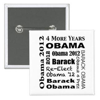 Diseño de bloque de OBAMA 2012 Pin Cuadrado