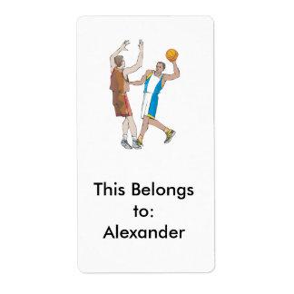 diseño de bloqueo de los jugadores de básquet etiqueta de envío