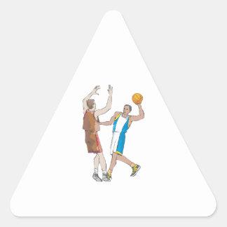diseño de bloqueo de los jugadores de básquet pegatina triangular