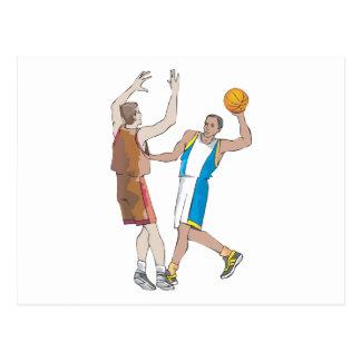 diseño de bloqueo de los jugadores de básquet tarjeta postal