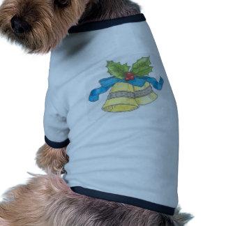 Diseño de Blue Ribbon del acebo de Belces de navid Camisas De Mascota