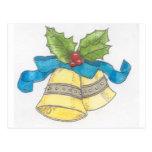 Diseño de Blue Ribbon del acebo de Belces de navid Tarjeta Postal
