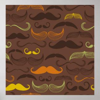 Diseño de Brown, anaranjado y amarillo del bigote Impresiones