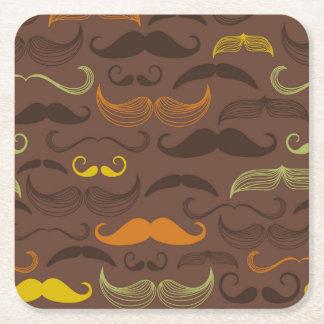 Diseño de Brown, anaranjado y amarillo del bigote Posavasos De Cartón Cuadrado