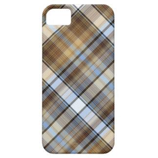 Diseño de Brown, azul claro y blanco del tartán iPhone 5 Fundas