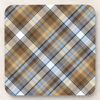 Diseño de Brown, azul claro y blanco del tartán Posavasos Para Bebidas