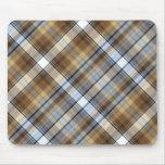 Diseño de Brown, azul claro y blanco del tartán Alfombrilla De Ratón