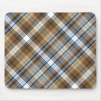 Diseño de Brown, azul claro y blanco del tartán Mouse Pads