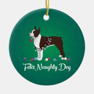 Diseño de Brown Boston Terrier Feliz Naughty Dog Adorno Navideño Redondo De Cerámica