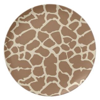 Diseño de Brown del moreno del estampado de animal Plato De Cena