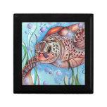 Diseño de Buble de la tortuga de mar Caja De Recuerdo