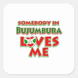 Diseño de Burundi Pegatina Cuadrada
