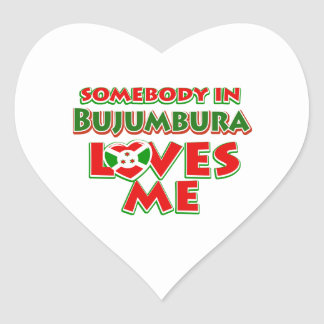 Diseño de Burundi Pegatina En Forma De Corazón