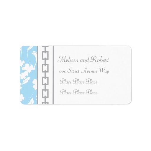Diseño de cadena floral y gris azul claro etiqueta de dirección