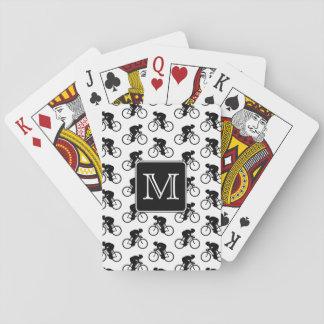 Diseño de ciclo con el monograma de encargo cartas de juego