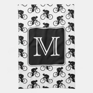 Diseño de ciclo con el monograma de encargo toalla de mano
