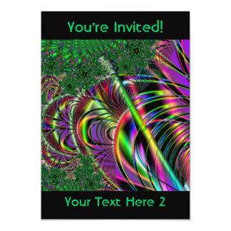 """Diseño de color verde oscuro, y multicolor del invitación 5"""" x 7"""""""
