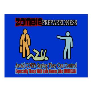 Diseño de control de Zombie Preparedness Corp Tarjetas Postales