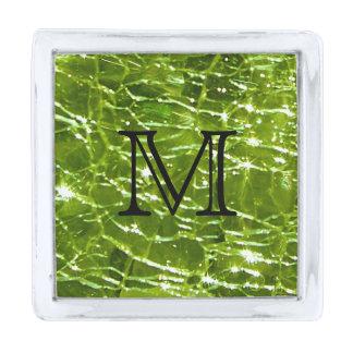 Diseño de cristal Crackled de Birthstone - Peridot Insignia Plateada