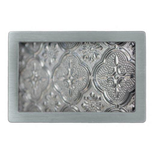 Diseño de cristal de plata adornado hebilla de cinturón rectangular