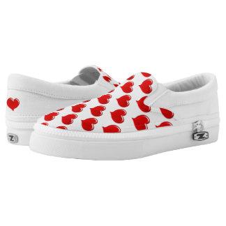Diseño de cristal del corazón del amor - rojo zapatillas
