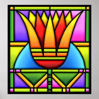 diseño de cristal intrépido de la mancha del loto/ póster